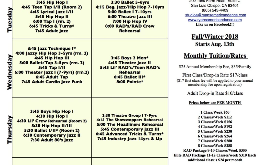 New Fall Schedule! Starts Aug. 13th