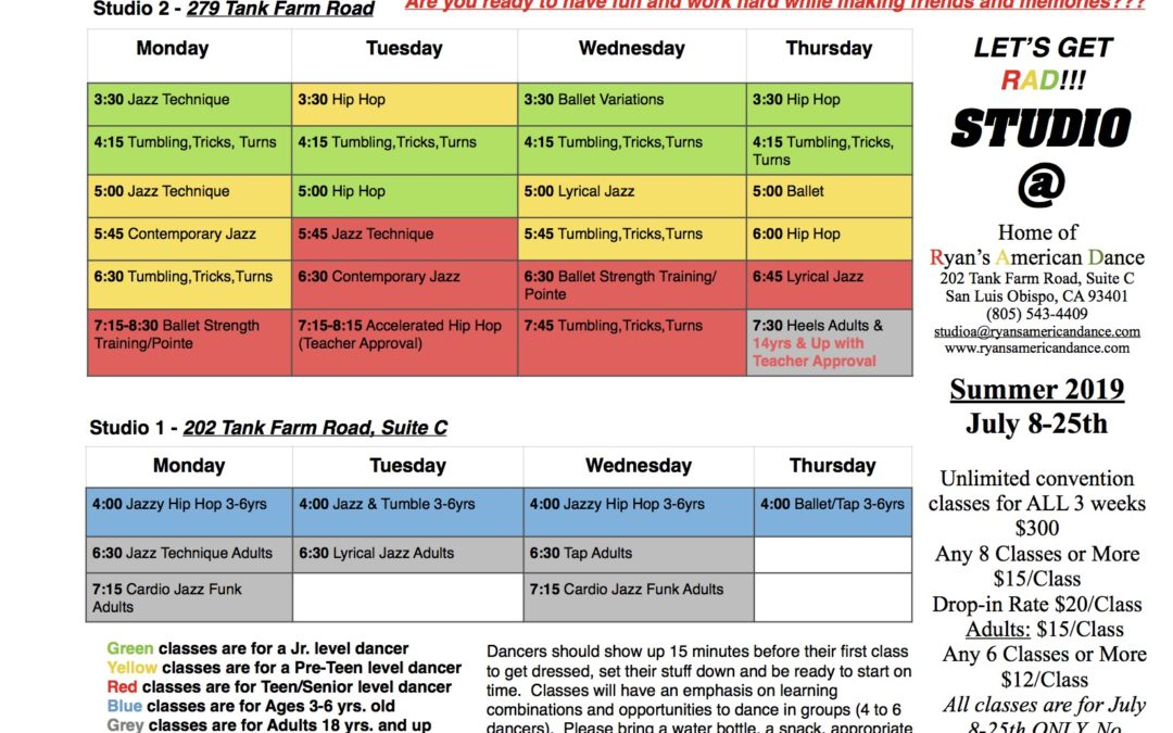 Summer Convention-Style Class Schedule